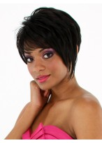 Black Machine Made Synthetic Short Wig
