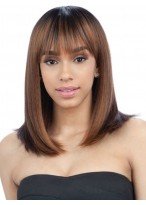 Medium Length Straight Capless Wig With Bangs