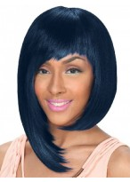 Personalized Synthetic Black Straight Asymmetry Wig