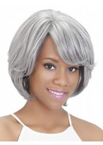 Grey Short Straight Synthetic Wig With Side Bangs
