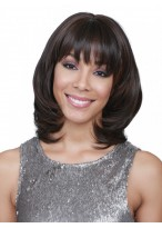 Appealing Wave Medium Length  Women Synthetic Wig With Bangs