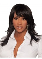 Medium Straight Synthetic Capless Wig With Side Bangs