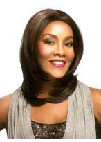 Brown Medium Length Layers Straight Lace Front Wig