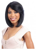 Black Natural Straight Capless Wig With Side Bangs