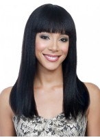 "18"" Straight Synthetic Capless Wig With Neat Bangs"