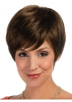 Synthetic Cropped Lace Front Wig with Asymmetric Fringe
