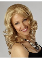 Shoulder Length Light Blonde Synthetic Wavy Lace Wig