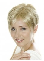 Short Cropped Light Blonde Synthetic Lace Wig