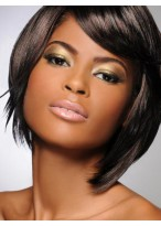 Full lace Midun-Length Straight Sleek Human Hair Wig