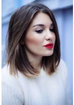 Straight Human Hair Medium-length Lace Front Wig