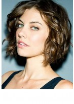 Human Hair Short Wavy Wig With Full Lace