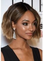 Wavy Human Hair Medium-length Lace Front Wig