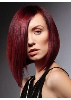 Red Medium Length Natural Straight Lace Front Wig