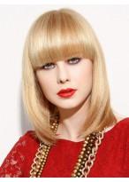 Medium Length Neat Bangs Women Full Lace Monofilament Wig