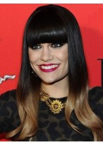 Jessie J's Ombre Boxy Fringe Dip Dye Wig