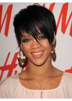 Rihannas Bangs Short Hairstyle Wig