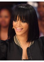 Rihanna Bob Style Dark Black Straight Wig