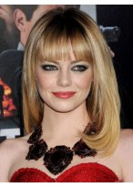 Emma Stone Light Blonde with Full Bangs