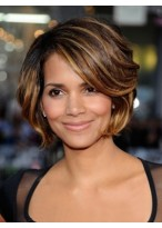Halle Berry's Female Side Parting Brown Wavy Wig
