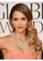 Jessica Alba Long Wavy Dip Dye Synthetic Wig