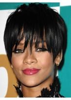 Rihanna Hairstyle Natural Black Short Straight Capless Wig
