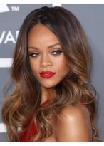 Rihanna Dip Dye Hairstyle Long Wavy Glueless Lace Wig