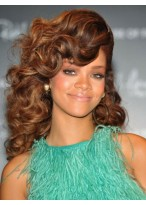 Rihanna's Long Wavy Big Volumn Hairstyle Wig