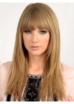 Graceful Long Straight Taylor Swift Hairstyle Human Hair Wig about 16 Inches