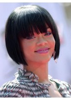 Sweet Short Straight Rihanna Hairstyle Remy Human Hair Full Lace Wig