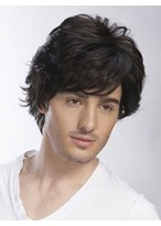Short Wavy Full Lace Remy Human Hair Mens Wig