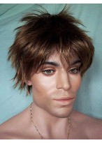 Natural Short Straight Synthetic Lace Front Wig for Man