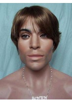Fancy Short Straight Synthetic Capless Wig for Man