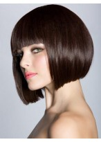 Sleek Straight Synthetic Bob Wig With Full Bangs