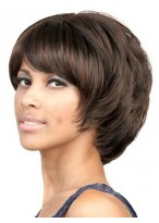 Side swept bang Chin length layered bob wigs