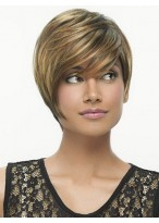 Angled Short Asymmetrical Cut Tapered Layers Wig