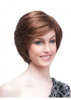 Brunette Straight Cropped Wig with Side Swept Fringe