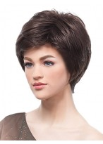 Brunette Layered Cropped Wig with Side Swept Fringe