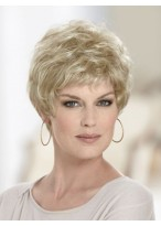 Light Blonde Short Wavy Wig with Soft Layers