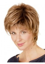 Feminine Synthetic Short Wig with Textured Layers
