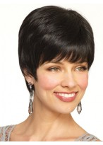 Remy Human Hair Cropped Look Short Wig