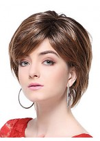 Brown Short Straight Synthetic Wig