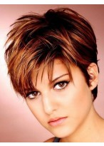 Fair Short Straight Capless Synthetic Hair Wigs