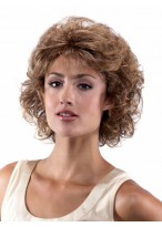 Chin-Length layered Curly Synthetic Lace Front Wig