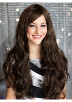 Beautiful Long Brown Remy Human Hair Wig