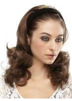 Long Wavy 3/4 Wig With Hard Velvet Attached Headband