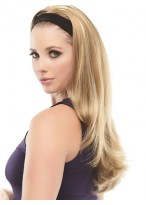 Long 3/4 Wig With Soft Black Attached Headband