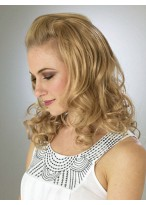 Beautiful mid-length Blonde Wavy 3/4 Wigs