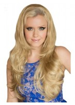 Long Wavy Blonde 3/4 Wig