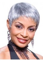Short Boy Cut Synthetic Silver Wig