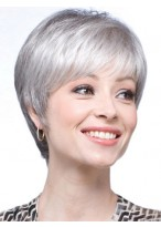 Straight Synthetic Short Lace Front Grey Wig
